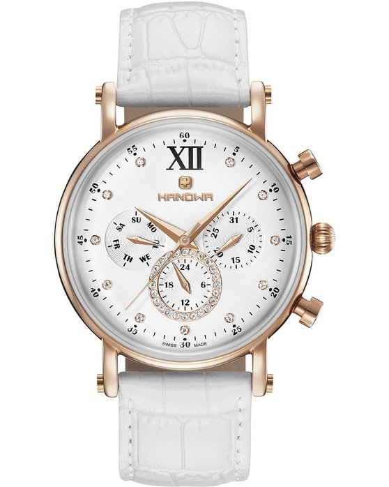 HANOWA Tabea Crystals White Leather Strap