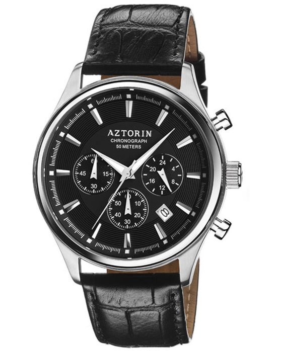 AZTORIN Casual Chronograph Black Leather Strap