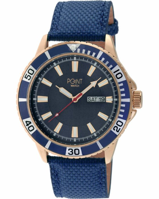 POINT WATCH Poseidon Blue Leather Strap