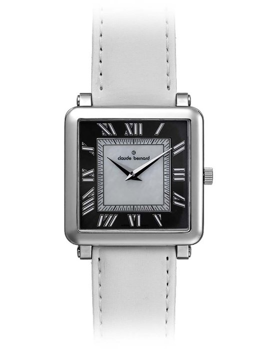 CLAUDE BERNARD Dress Code White Leather Strap