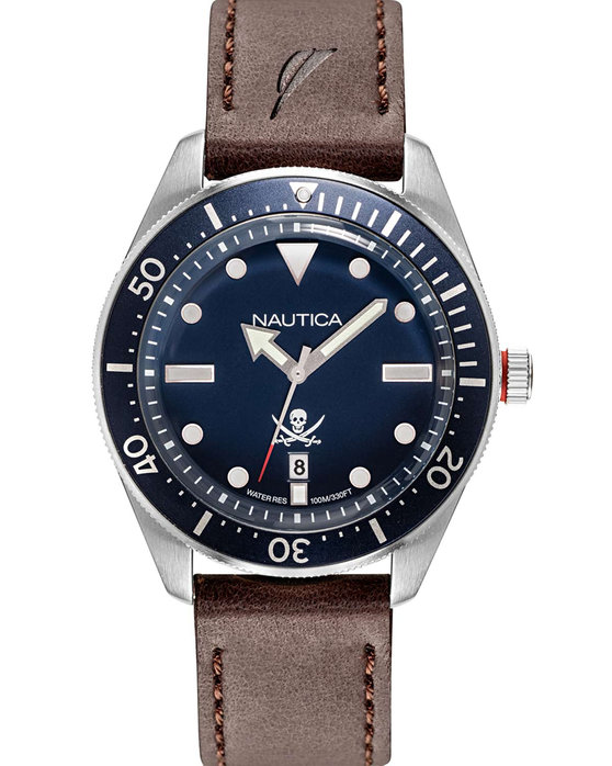 NAUTICA Hillcrest Brown Leather Strap
