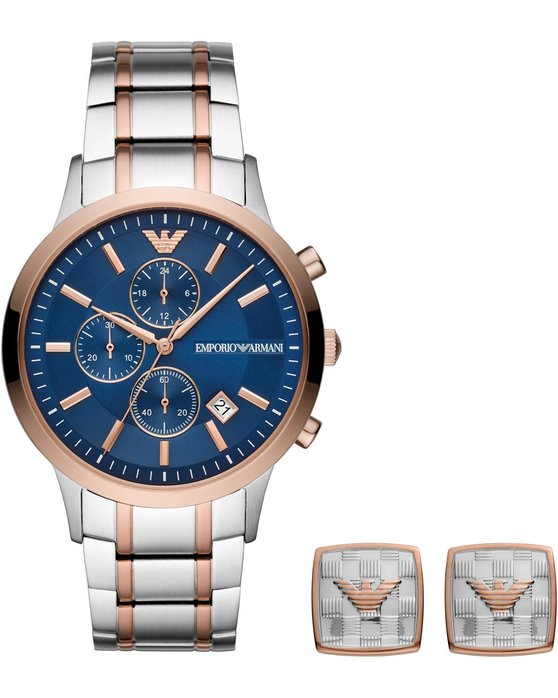 Emporio ARMANI Chronograph Two Tone Stainless Steel Bracelet Gift Set