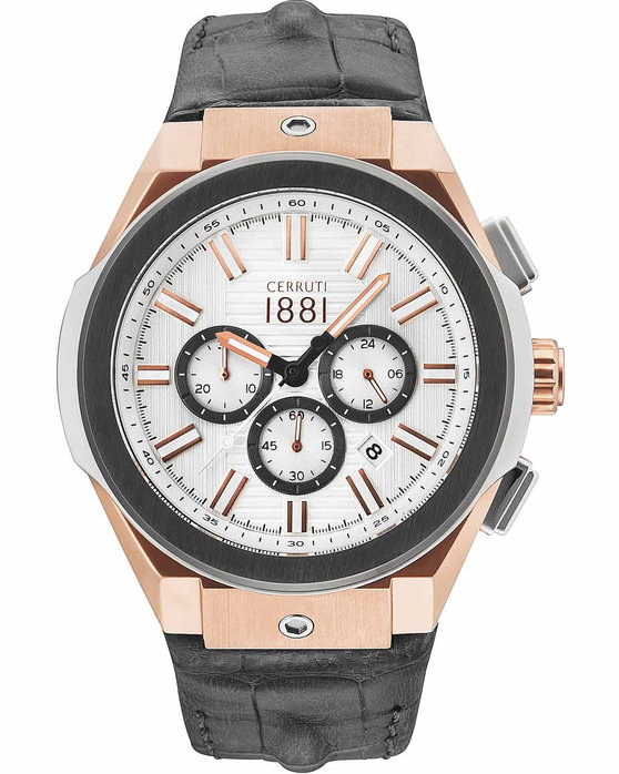 CERRUTI Ruscello Chronograph Grey Leather Strap