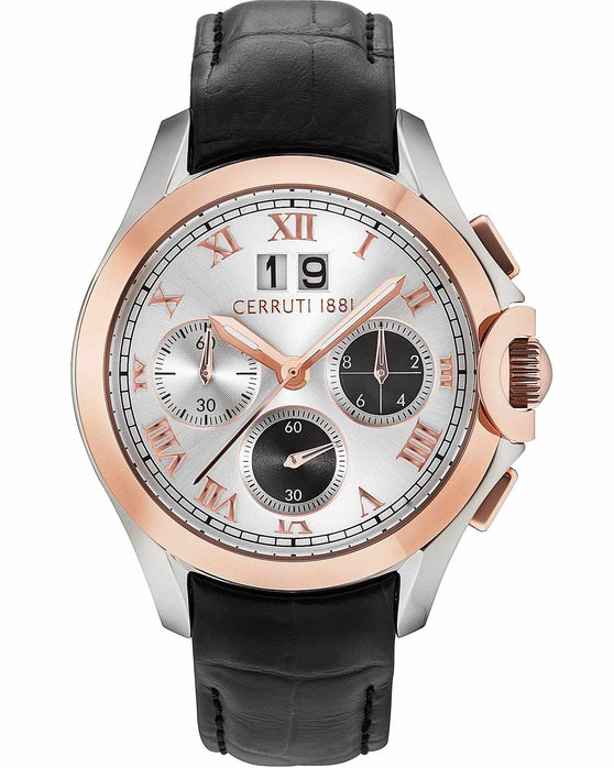 CERRUTI Cerreto Chronograph Black Leather Strap