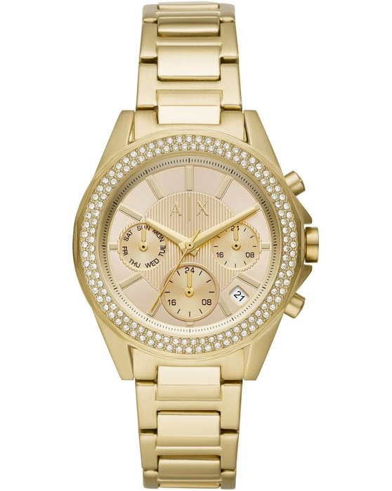 ARMANI EXCHANGE Drexler Crystals Dual Time Gold Stainless Steel Bracelet