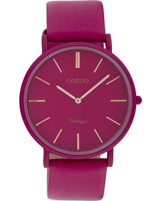 OOZOO Vintage Unicolor Fuchsia Leather Strap (40mm)