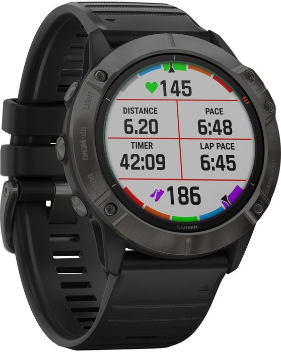 GARMIN Fenix 6X Pro Solar Titanium Carbon Gray DLC with Black Band