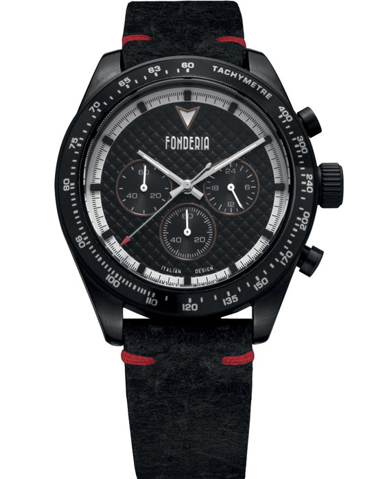 FONDERIA Saltspeeder Chronograph Black Leather Strap