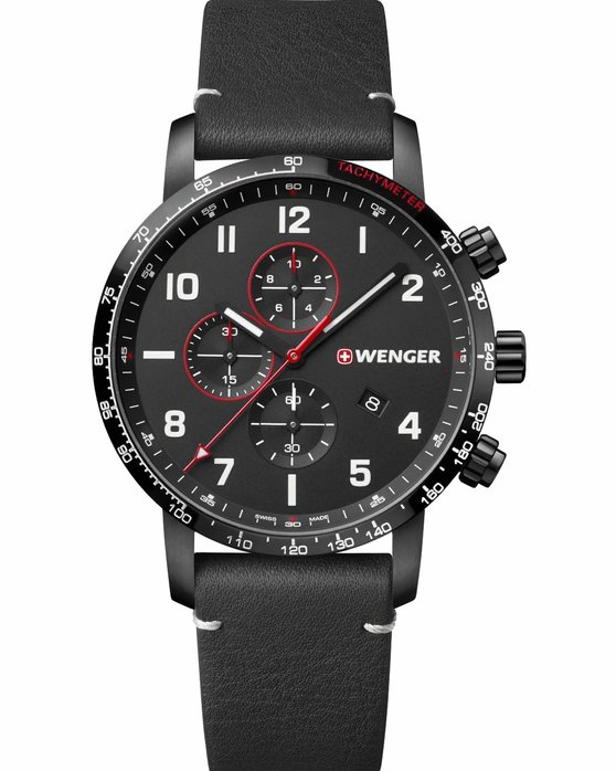 WENGER Attitude Chronograph Black Leather Strap