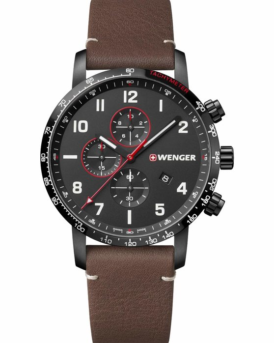 WENGER Attitude Chronograph Brown Leather Strap
