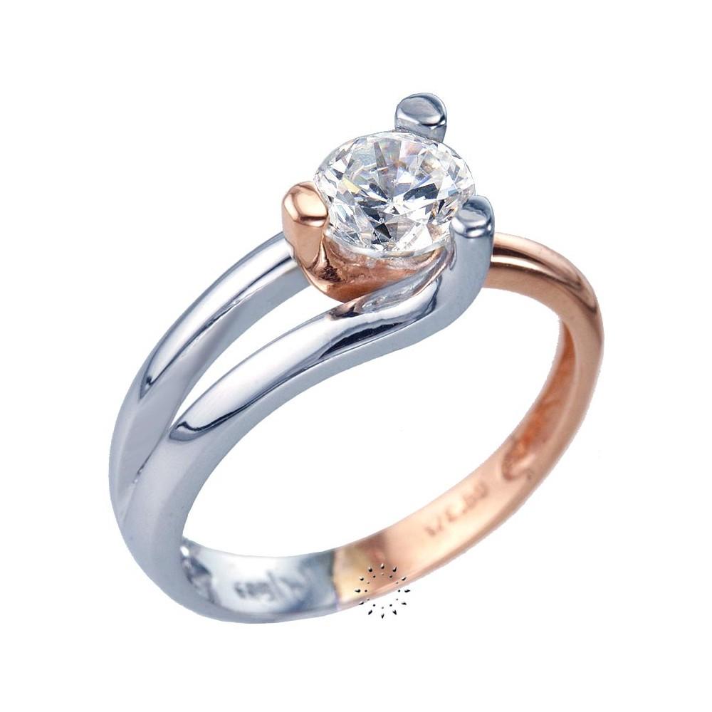 Ρολόι Μονόπετρο δαχτυλίδι 14 καράτια Λευκόχρυσο και Ροζ Χρυσό ... b8e77f350a6