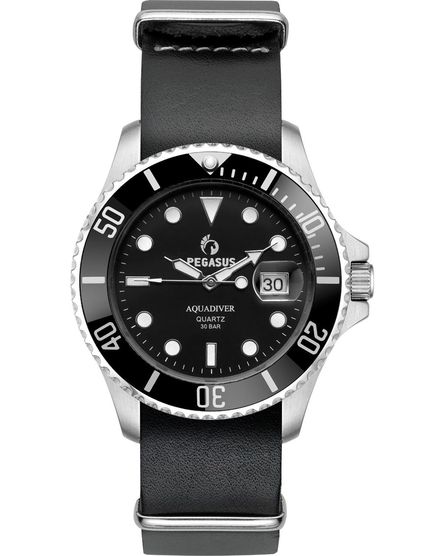 Ρολόι PEGASUS Aquadiver Black Leather Strap 300M - 14584296L-BLACK ... b36d48fa1d1