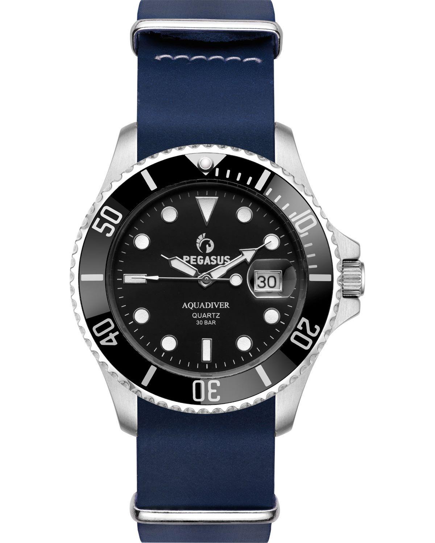 Ρολόι PEGASUS Aquadiver Blue Leather Strap 300M - 14584296L-BLUE ... 2ee9ab124ac