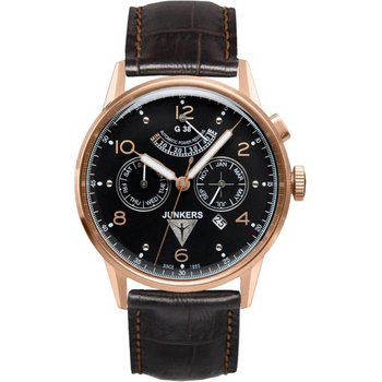 JUNKERS Flight Record G38 Auto Rose Gold Brown Leather Strap