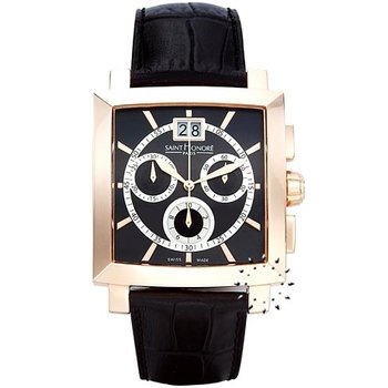 Saint HONORE Orsay Grand Quartz Chronograph Black Leather Strap