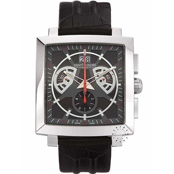 Saint HONORE Orsay Magnum Disc Chronograph Black Leather Strap