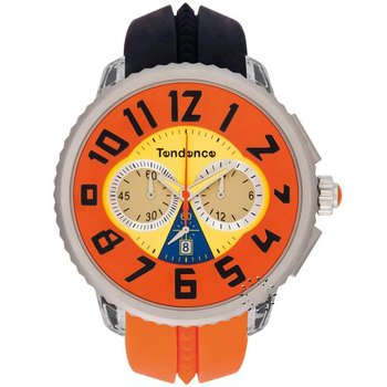 TENDENCE Crazy Chrono Orange and Black Rubber Strap