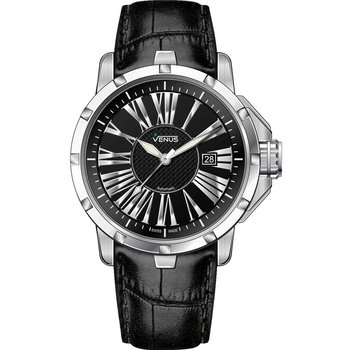 Venus Automatic Black Leather Strap