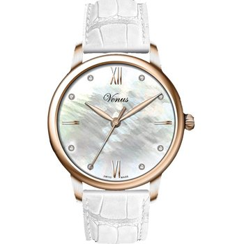 VENUS CLassico Diamonds Rose Gold White Leather Strap