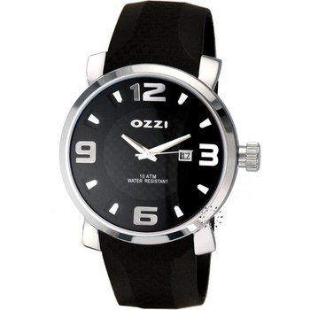 OZZI Black Leather Strap Black Dial