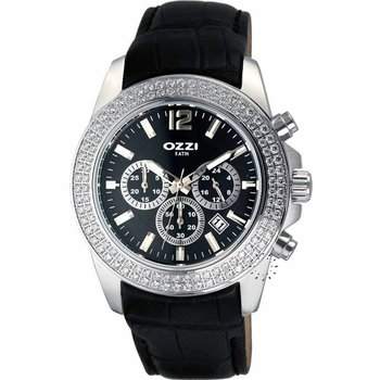 OZZI Crystal Chronograph Black Leather Strap