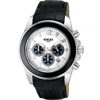 OZZI Chronograph Black Leather Strap