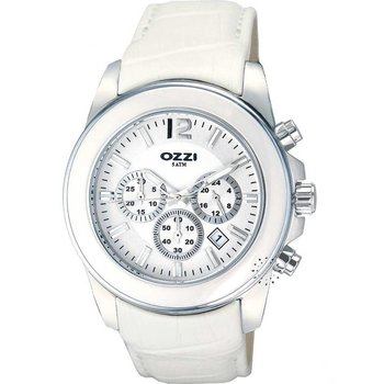 OZZI Chronograph White Leather Strap