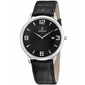FESTINA Black Leather Strap