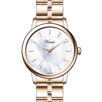 VENUS Classico Mother Of Pearl Rose Gold Stainless Steel Bracelet