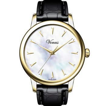 VENUS Classico Mother Of Pearl Gold Black Leather Strap