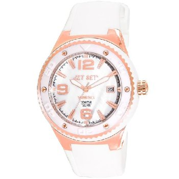JET SET WB30 Rose Gold White Rubber Strap