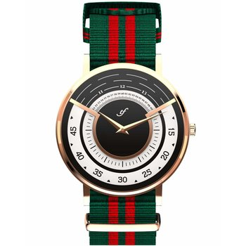 TRIFOGLIO ITALIA Radio City Rose Gold Green and Red Fabric Strap
