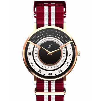 TRIFOGLIO ITALIA Radio City Rose Gold White and Red Fabric Strap