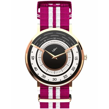 TRIFOGLIO ITALIA Radio City Rose Gold White and Fuchsia Fabric Strap