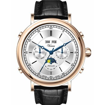 VENUS Automatic Rose Gold Perpetual Calendar Black Leather Strap