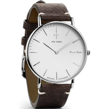 NICK CABANA Boheme Blanc Buffalo 40mm Brown Leather Strap