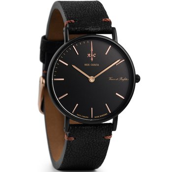 NICK CABANA Boheme Noir Raven 36mm Black Leather Strap