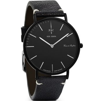NICK CABANA Boheme Noir Raven 40mm Black Leather Strap