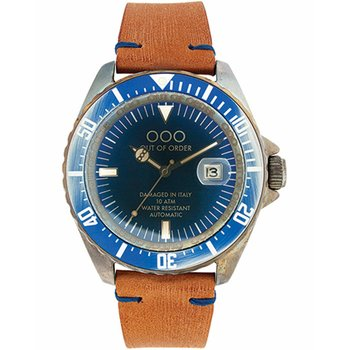 OUT OF ORDER Automatico Blu Brown Leather Strap