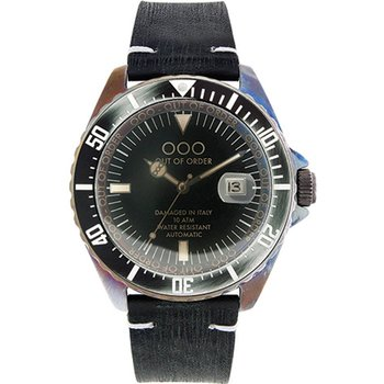 OUT OF ORDER Automatico Nero Black Leather Strap