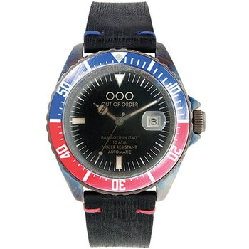 OUT OF ORDER Automatico Rosso&Blu Black Leather Strap