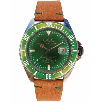OUT OF ORDER Automatico Verde Brown Leather Strap