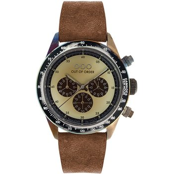 OUT OF ORDER Cronografo Brown Leather Strap