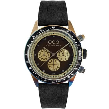 OUT OF ORDER Cronografo Black Leather Strap
