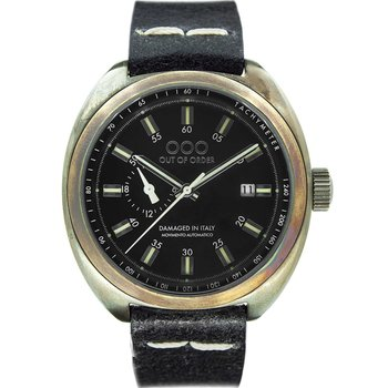 OUT OF ORDER Torpedine Black Leather Strap