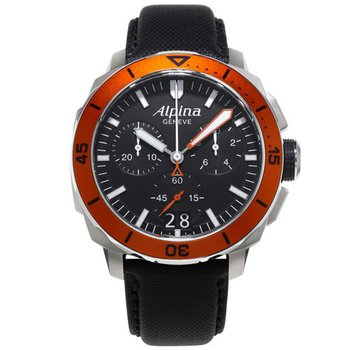 ALPINA Seastrong Diver 300 Black Leather Chronoghraph