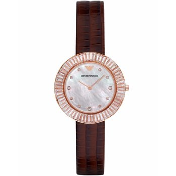 Emporio ARMANI Dress  Rose Gold Brown Leather Strap
