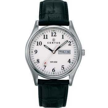 CERTUS Classic Mens Black Leather Strap