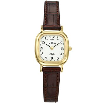 CERTUS Classic Women Gold Brown Leather Strap