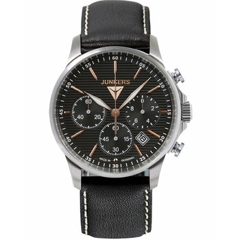 JUNKERS Tante Chrono Black Leather Strap